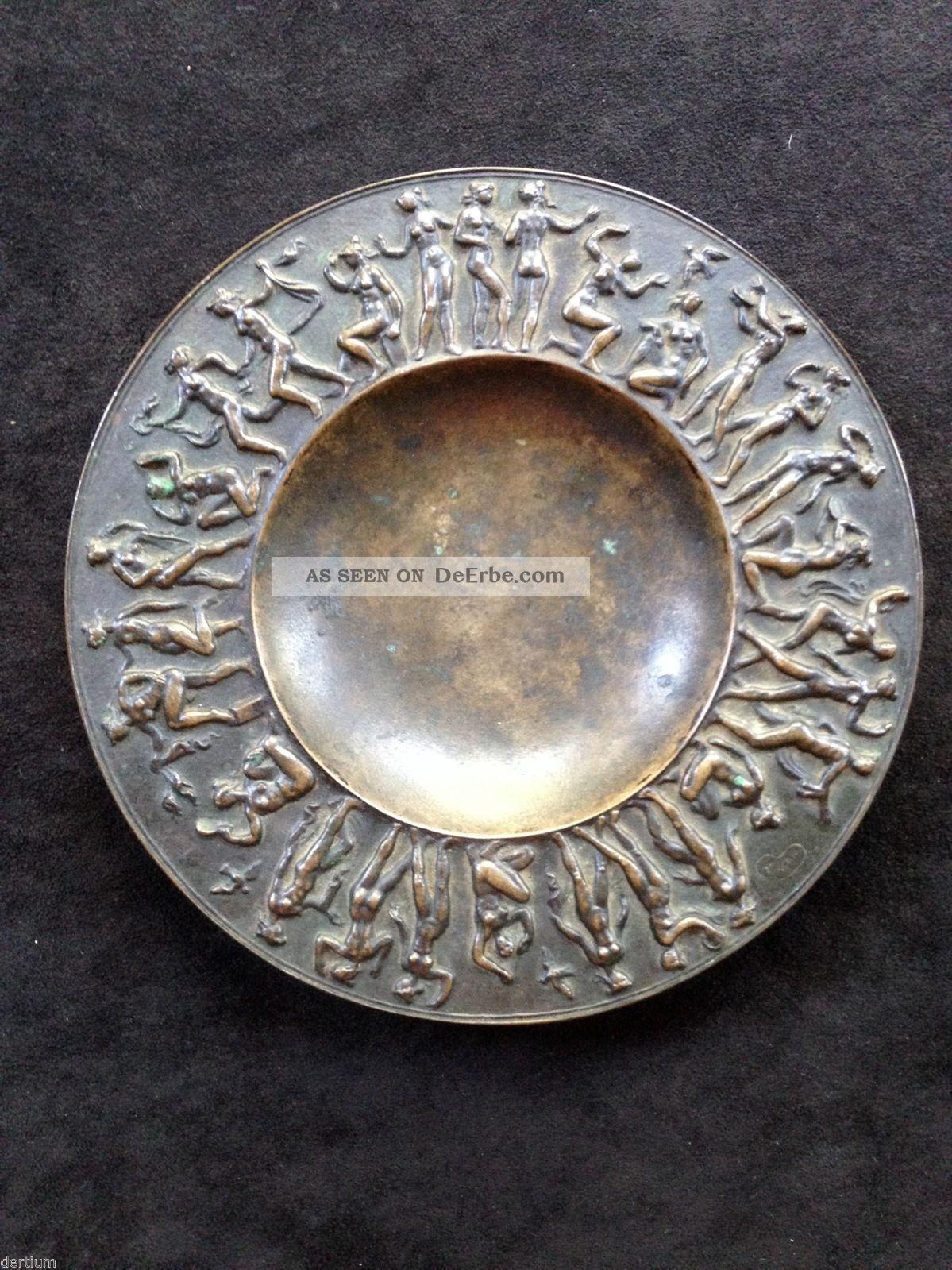 Fritz Nuss 1907 - 1999 Bronze Reliefteller - Signiert Und Datiert 1946 1950-1999 Bild