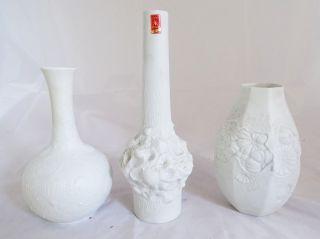 3 Seltene Ak Kaiser Vasen Porzellan Muschel Blumen Dekor Raritäten Weiß Bild