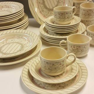Kaffeeservice Speiseservice 33tlg Für 6 Pers Creme Blümchen Landhaus Eit England Bild