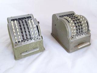Paar Antike Summira 7 Tisch Rechenmaschinen Additionsmaschine 50/60er Bild