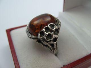 Klasse 60er 70er Jahre Bernstein Designer Ring Aus 925 Sterling Silber Bild