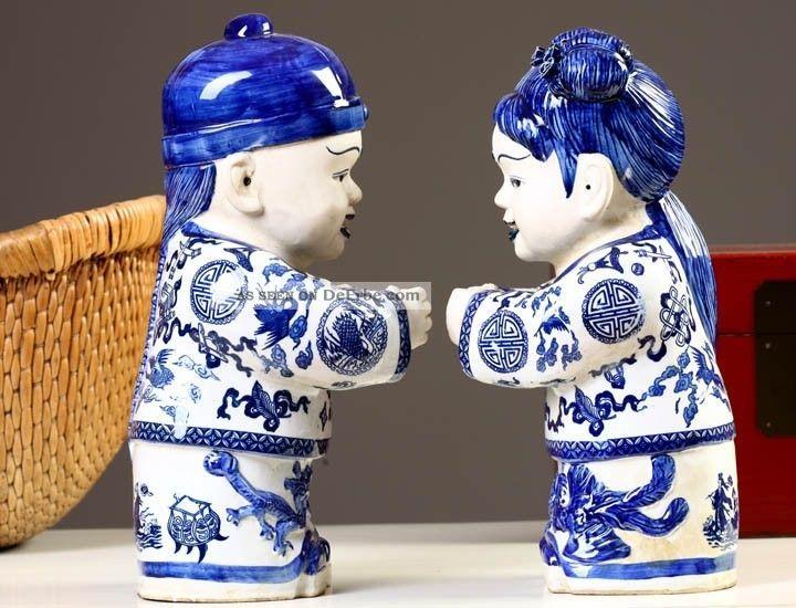 Chinesische Porzellan Figuren 2 Kinder 38cm Blau Weiß Skulpturen China 441 Entstehungszeit nach 1945 Bild