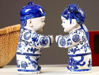 Chinesische Porzellan Figuren 2 Kinder 38cm Blau Weiß Skulpturen China 441 Bild
