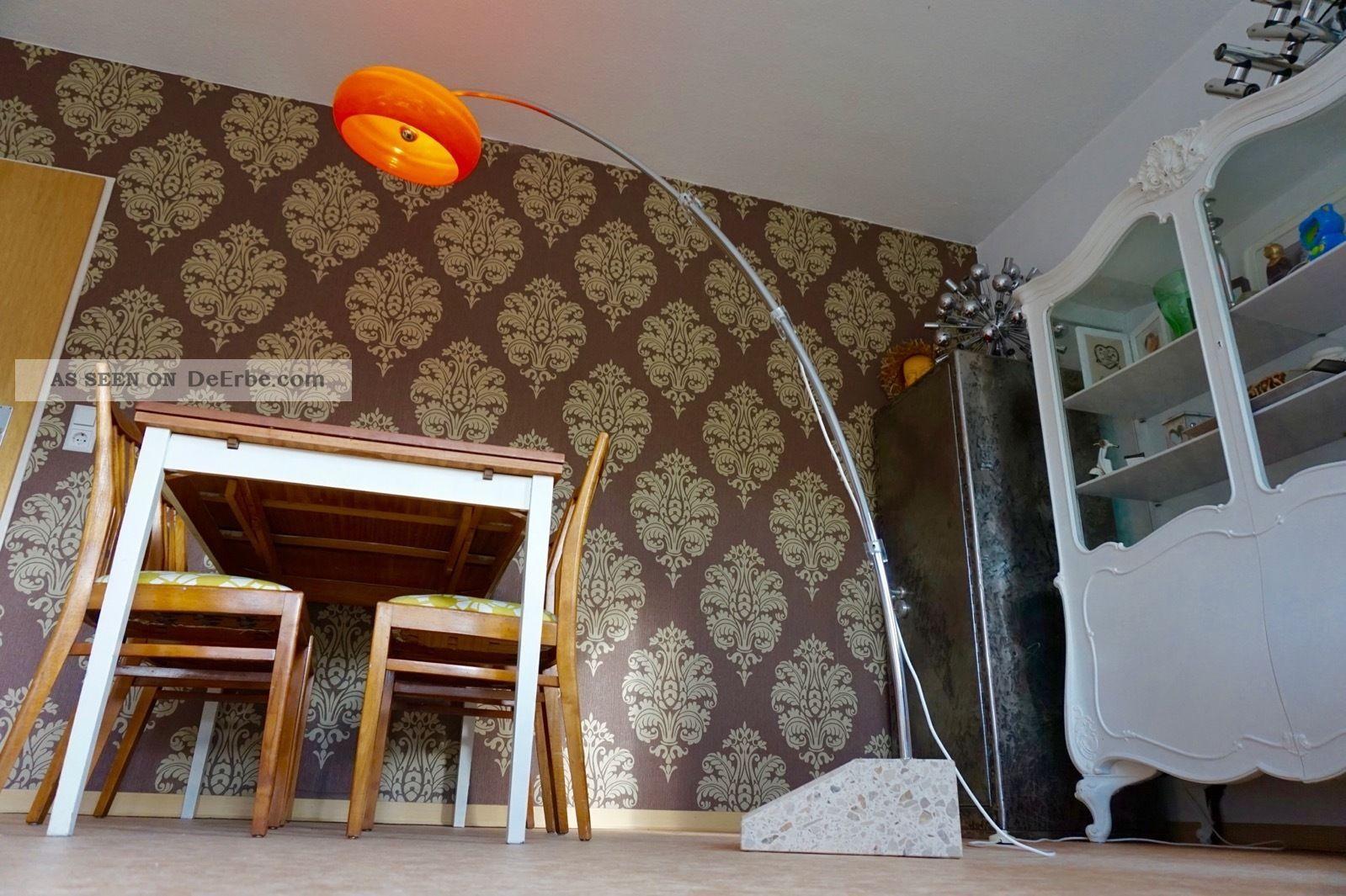 Vintage Bogenlampe Hustadt Stehlampe Leuchte Chrom Design Lampe