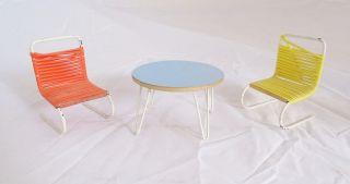 70er Jahre Puppenstube Raritäten Möbel Stühle Mit Tisch Panton Ära Bild