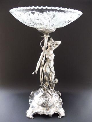 ⚠️ Wmf Jugendstil Maiden Tafelaufsatz Floral Art Nouveau Centerpiece Putto ⚠️ Bild