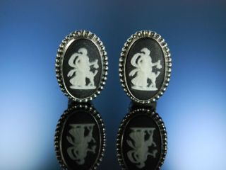 Vintage Earrings Ohrclipse Wedgwood Black Jasper Ware Silber 925 Birmingham 1978 Bild