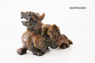 Skulptur Chinesischer Drache / Steinfigur / Statue / Jade Natur Dragon Braun Bild