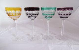 4 Alte Kristall Glas Wein Römer Überfang In Tollen Farben Wohl Nachtmann Bild