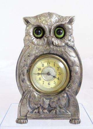 Rarität Seltene Alte Augenwender Uhr Eule Uhu Herrlich Verziert Bild