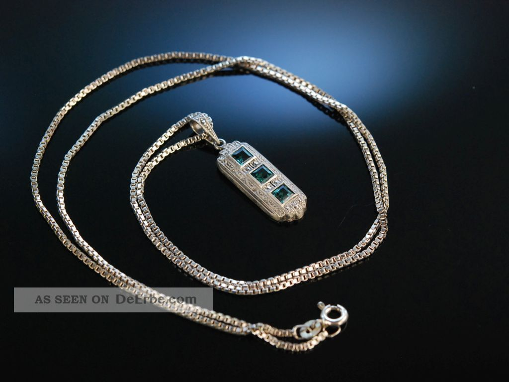 Art Deco Pendant AnhÄnger Mit Kette Silber 835 Synthetische Spinelle Markasiten Schmuck nach Epochen Bild
