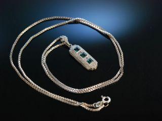 Art Deco Pendant AnhÄnger Mit Kette Silber 835 Synthetische Spinelle Markasiten Bild