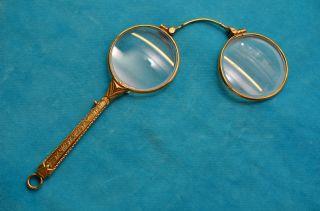 Schönes Sammlerstück Altes Antikes Goldfarbenes Lorgnon Sehhilfe 1910/1930 Bild