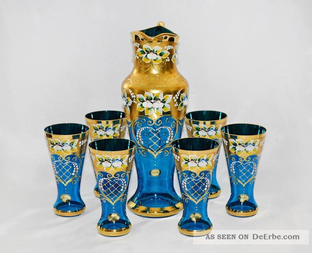 Bohemia Saft/wasserset,  Handarbeit,  Handbemalt,  Farbe Hellblau/gold,  Blumendekor Sammlerglas Bild