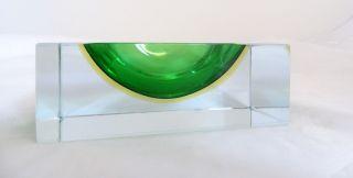 Panton Ära Ausgefallener Murano Glas Block Mit Ovaler Vertiefung Aschenbecher Bild