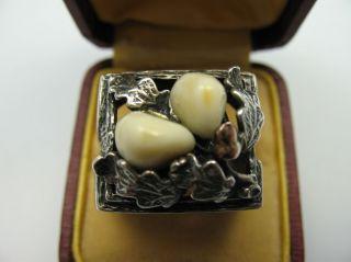 Wunderschöner Großer Alter Grandel Ring Aus 835 Silber Bild