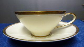 Rosenthal Bettina 50er Jahre Porzellan - Kaffeetasse Mit Untert - Elfenbein/gold Bild