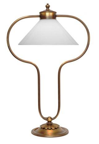 Sehr Elegante Jugendstil Landhaus Tischlampe Opalglas Messing Einzelstück Bild