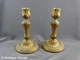2 Prachtvolle Antike Kerzenleuchter Bronze Paar Biedermeier Akanthus Dekor Bild