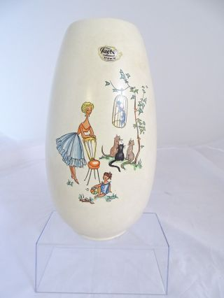 Mid Century Jasba Keramik Motiv Vase Papagei Katze Kinder Bild