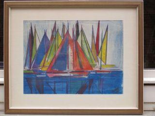 Abstraktes Kunstwerk 60s Bild Zeichnung Signiert Schiffe Konstruktivismus Bild