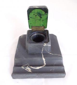 Antike Marmor Schreibtischgarnitur Mit Glas Einsatz Um 1900 Bild