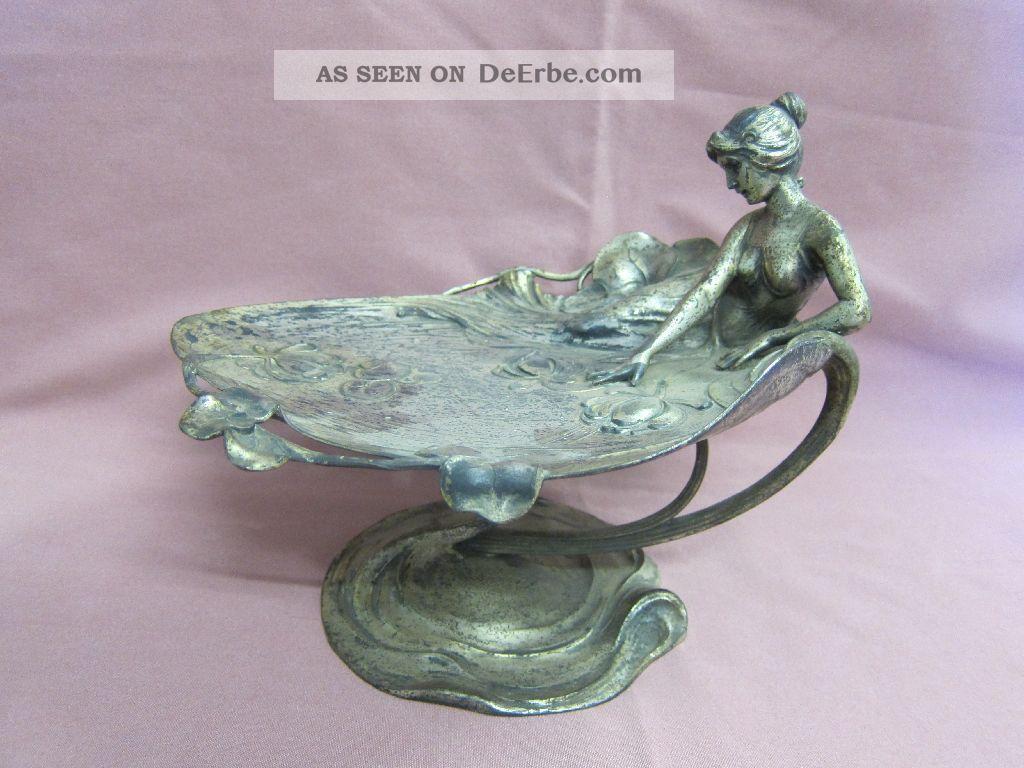 Wmf Jugendstil Schale Auf Fuß Fußschale Frauenfigur Dame Frau Versilbert 18715 Objekte vor 1945 Bild