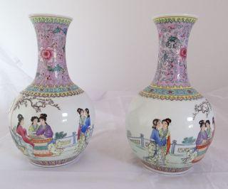 Paar Alte Vasen China Chinesische Motive Mit Seltenem Dekor Langhalsvase 28 Cm Bild