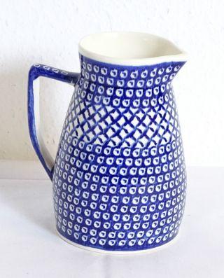 Herrlicher Bunzlau Krug Milchkrug Blau Gemustert Bild