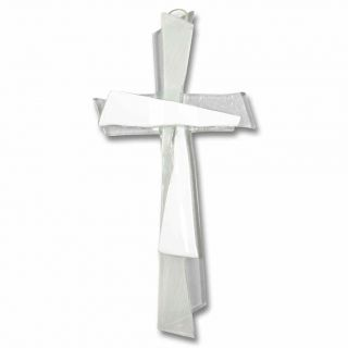 Glaskreuz Weiß Modern Handarbeit 21 X 11 Cm - Wandkreuz / Schmuckkreuz Bild