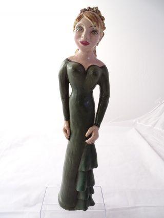 Massive Große Ton Plastik Frauen Figur Dame Grünes Kleid Tolle Künstlerarbeit Bild