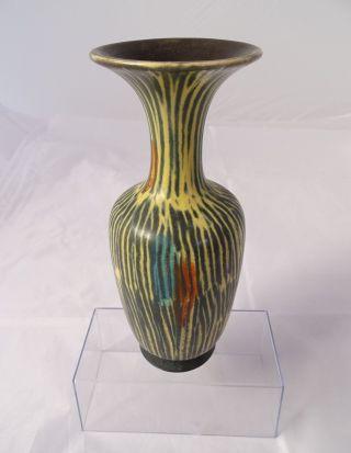 Ausgefallene Design Keramik Vase 50er Jahre 50s Rarität Tolle Farben 20 Cm Bild