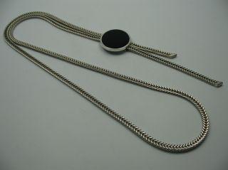 Perli Wunderschöne Seltene Lange Designer Schieber Kette Aus 835 Silber Mit Onyx Bild