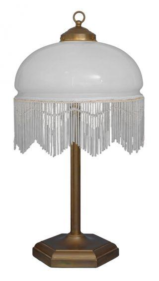 Klassische Jugendstil Tischlampe Glasstäbchen Messinglampe Bild