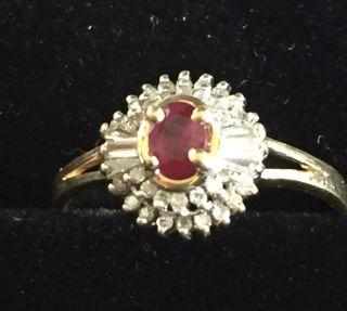 Diamant - Rubin - Ring - Gelbgold 14k Bild