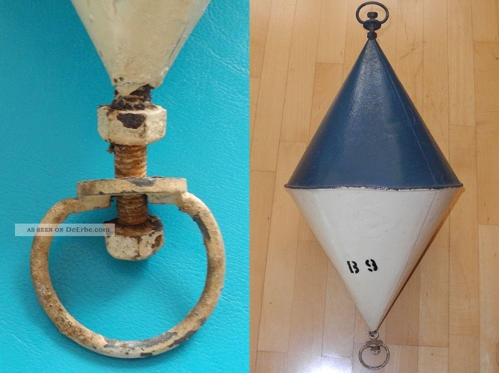 Maritime Boje - Antik Blau/weiss Metallboje - Ankerboje - 70cm -