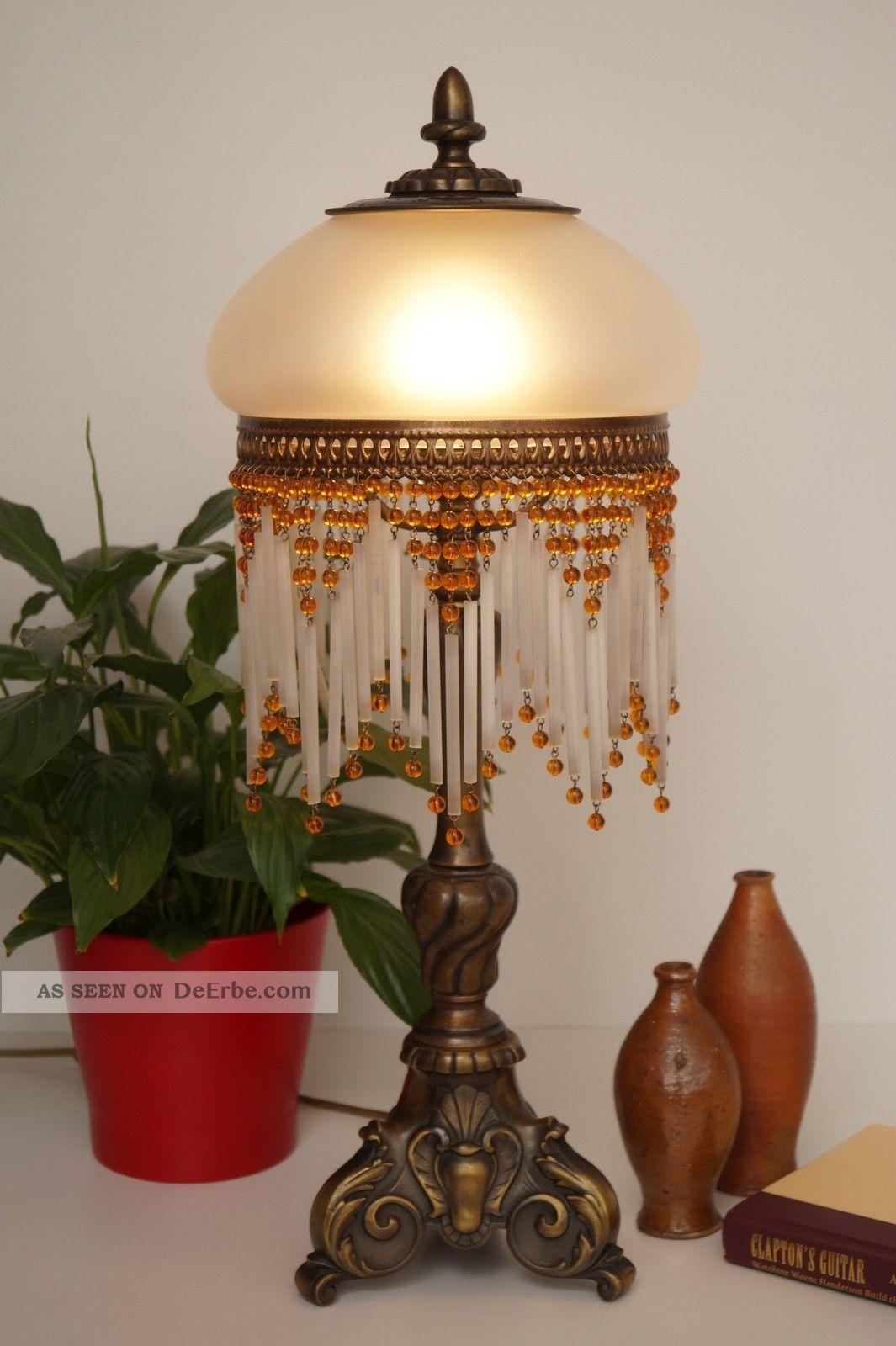 einmalig sch ne jugendstil salon tischleuchte messing perlenvorhang. Black Bedroom Furniture Sets. Home Design Ideas