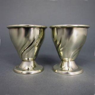 2 Antike Eierbecher Godroniert Silber Um 1900 Bild