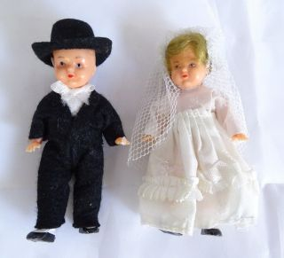 Paar Schöne ältere Puppenstube Puppen Brautpaar Ca.  9 - 10 Cm Braut Bräutigam Bild