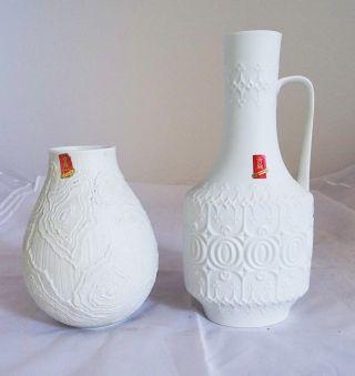 2 Ak Kaiser Vasen Porzellan Ausgefallenes Dekor Sammler Weiß Design Top Bild