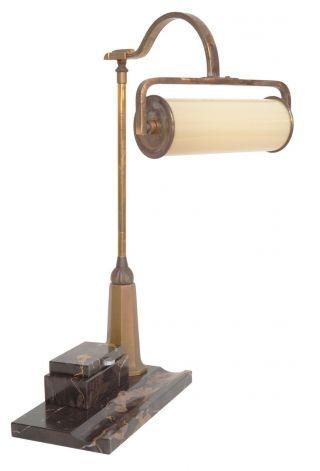 Sehr Edle Art Déco Kontor Schreibtischlampe Banker Leuchte Marmor 1930 Bild