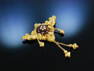 Antike Brosche Biedermeier Um 1850 Gold 750 Granat Saat Perlen Garnet Brooch Bild