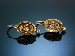 Antike Biedermeier Ohrringe Silber Vergoldet Österreich Um 1850 Antique Earrings Bild