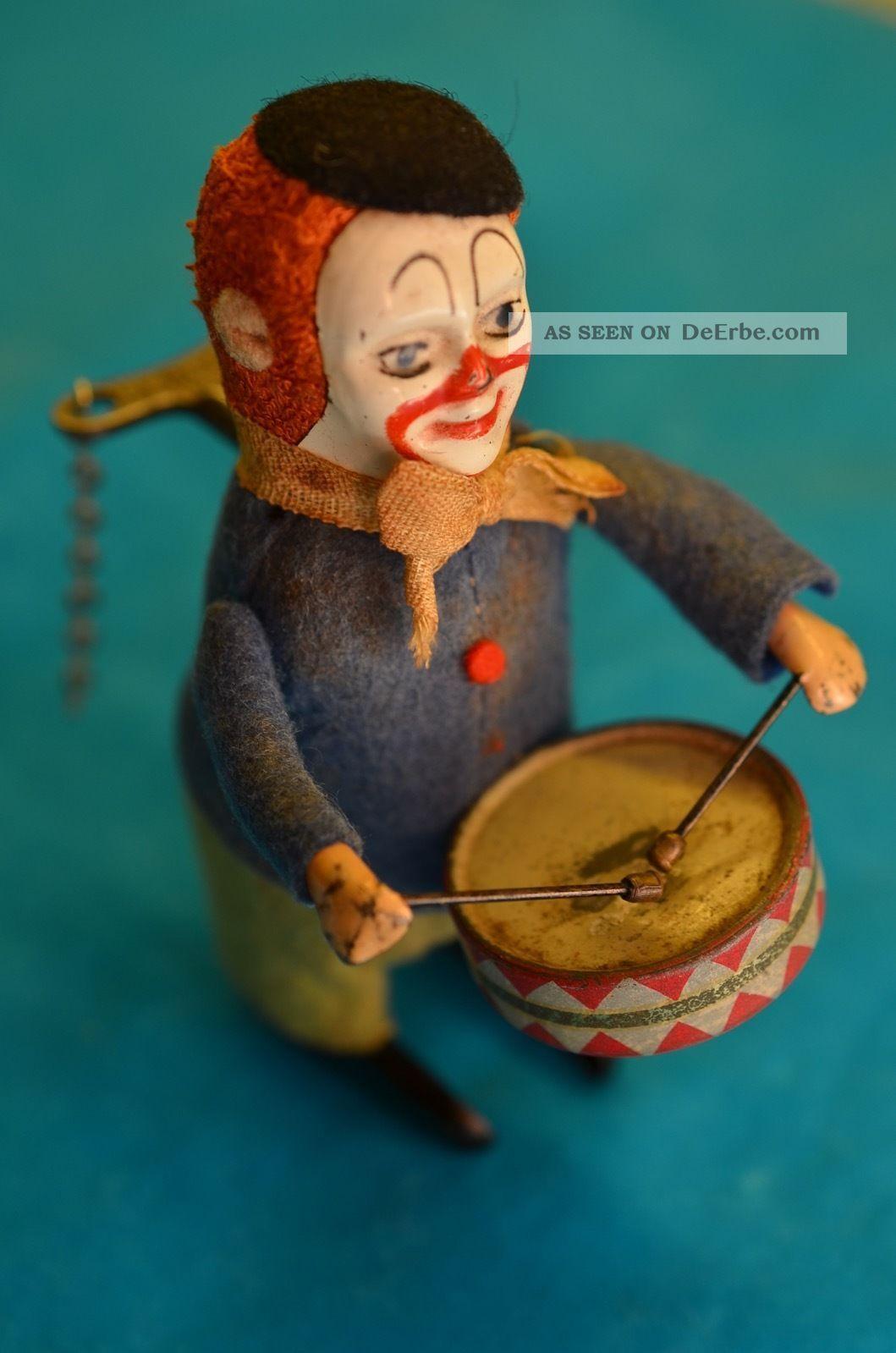 Altes Sammlerstück Orig.  Schuco Clown Mit Trommel Und Schlüssel Original, gefertigt vor 1945 Bild