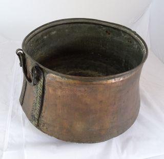 Antiker Riesiger Seltener Kupfer Topf M.  Griffe Blumentopf O.  Holzgefäß F.  Kamin Bild