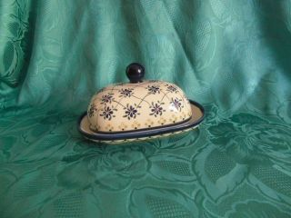Nb Poland Butterdose Keramik Weis Blau Butterplatte Butterglocke Rustikal 19279 Bild