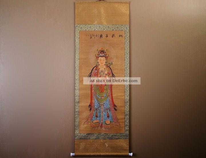 Chinesisches Rollbild Buddha Seidenpapier 170x60cm China Malerei Bild 479/01 Entstehungszeit nach 1945 Bild