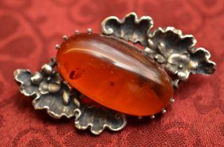 Alte Antike Schöne Bernsteinbrosche Amber Silber 835 Bild