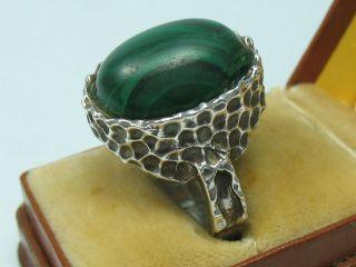 Handarbeit Top 60er 70er Jahre Designer Ring Aus 925 Silber Mit Malachit Bild