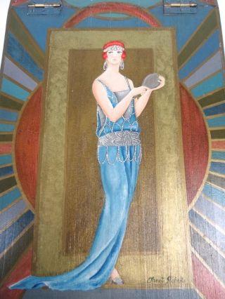 Seltene Art Deco Schmuck Schatulle KÄstchen Signiert Janet Roberts England Antik Bild